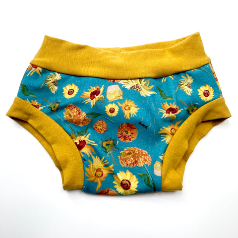 Training Pants : Teal Sunflower Impressionism with Yellow