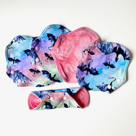 Cloth Menstrual Pads : Rainbow Dragons