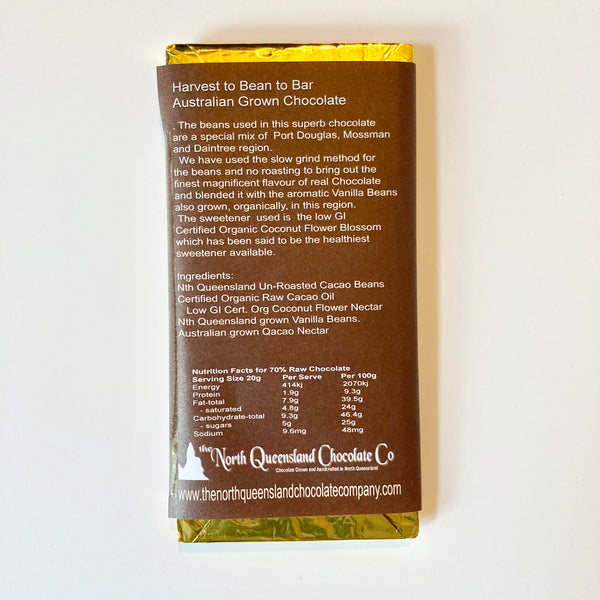 The North Queensland Chocolate Company - 70g of 70% cacao vegan chocolate
