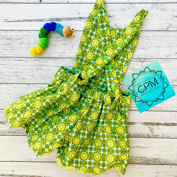 Kids Overalls : Green Floral