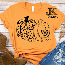 Load image into Gallery viewer, Hello Fall Leopard Pumpkin Set on Bella Canvas Crew Neck Shirt
