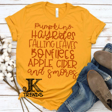 Load image into Gallery viewer, Pumpkins Hayrides Falling Leaves Bonfires Apple Cider and Smores Fall Festive Shirt