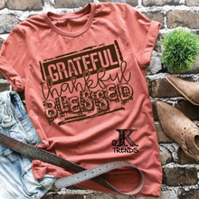 Load image into Gallery viewer, Grateful Thankful Blessed Mom Shirt Fall Thanksgiving Stamped look Bella Canvas
