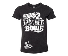 Load image into Gallery viewer, Bad 2 The Bone Youth Halloween Fun Shirt