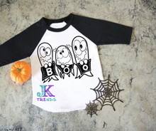 Load image into Gallery viewer, BOO Trio Youth Shirt Next Level Youth Raglan