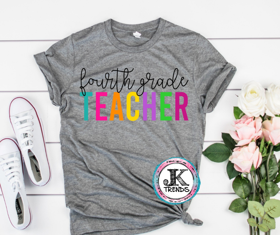 Fourth Grade Teacher Bella Canvas Crew Neck