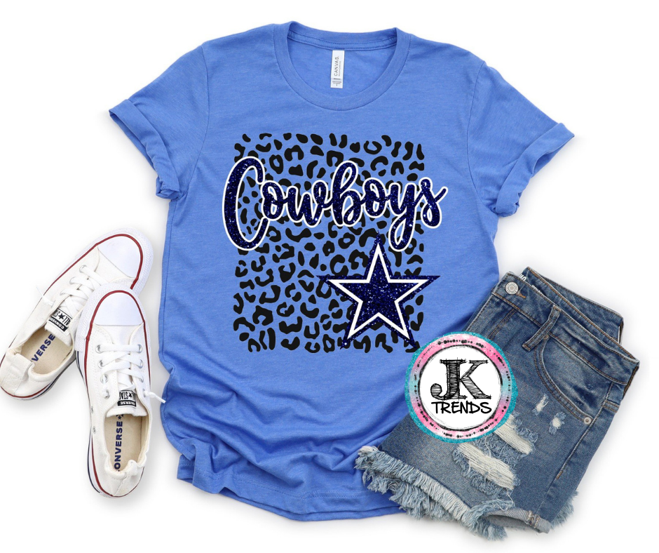 Dallas Cowboys Leopard Bella Canvas Crew Neck