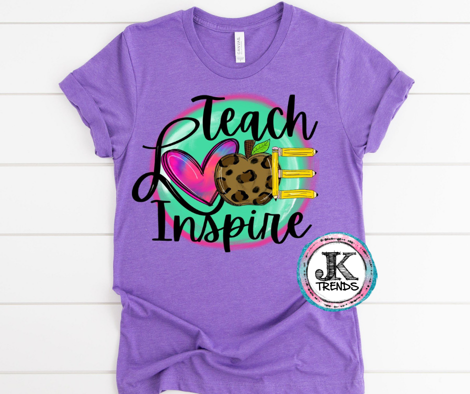 Teach Love Inspire Bella Canvas Crew Neck