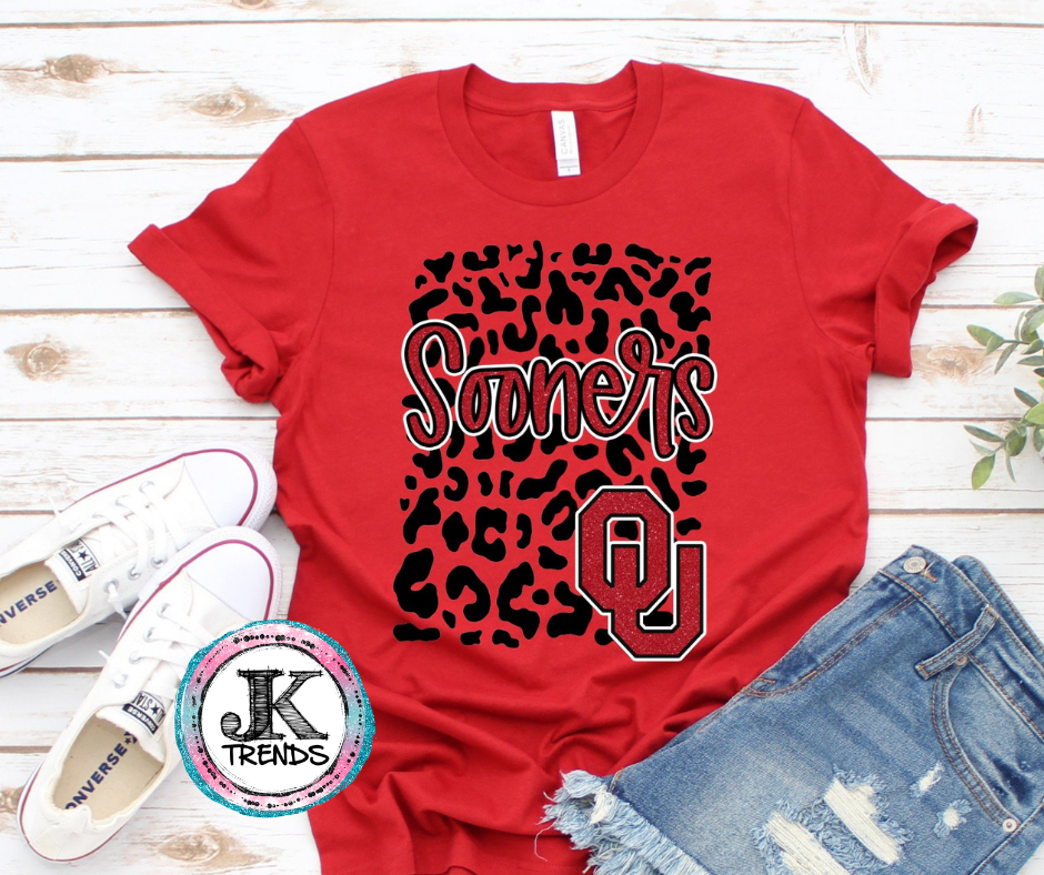 Sooners University of Oklahoma Leopard Bella Canvas Crew Neck