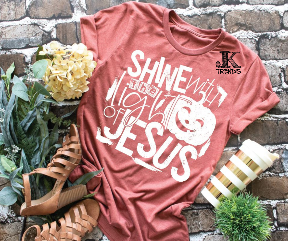 Shine with the light of Jesus Youth Halloween Fun Shirt