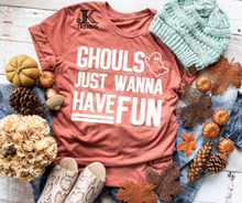 Load image into Gallery viewer, Ghouls Just Wanna Have Fun Youth Halloween Fun Shirt