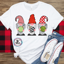 Load image into Gallery viewer, Christmas Gnomes Ornament Graphic Shirt Holiday ADULT SHORT SLEEVE Bella Canvas