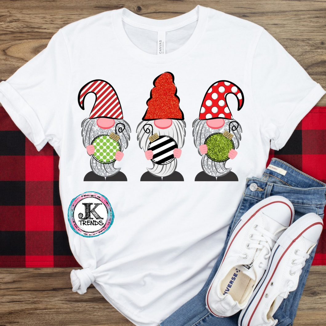 Christmas Gnomes Ornament Graphic Shirt Holiday ADULT SHORT SLEEVE Bella Canvas