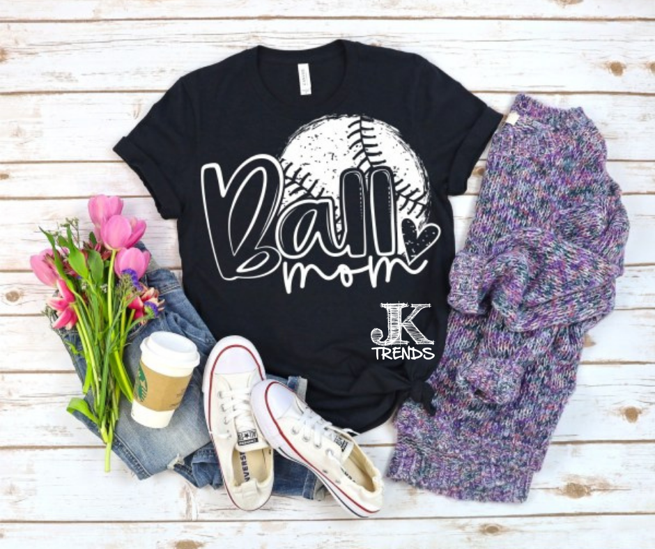 Ball Mom Solid Distressed Baseball Bella Canvas Crew Neck