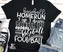 Load image into Gallery viewer, Baseball Homerun 3 up 3 down, Batter Up, Strike, Foul Ball Baseball Bella Canvas Crew Neck
