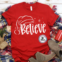 Load image into Gallery viewer, Believe Santa Hat Funny Graphic Shirt Holiday ADULT Bella Canvas