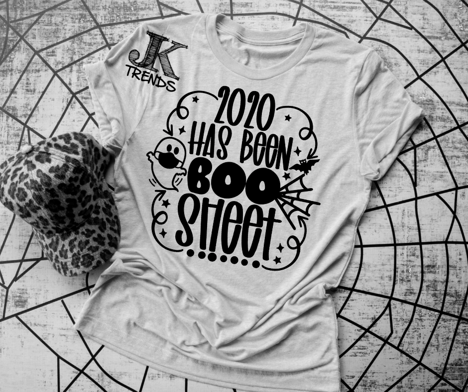 2020 has been BOO Sheet Black print funny sarcasm Halloween Bella T Shirt Crew Neck