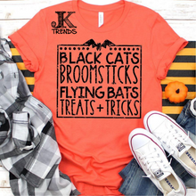 Load image into Gallery viewer, Black Cats Broom Sticks Flying Bats Tricks and Treats Halloween Shirt
