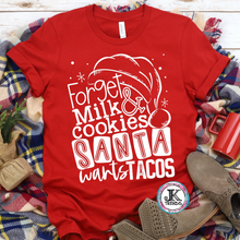 Load image into Gallery viewer, Forget Milk and Cookies, Santa wants Tacos Adult Bella Canvas Crew Neck