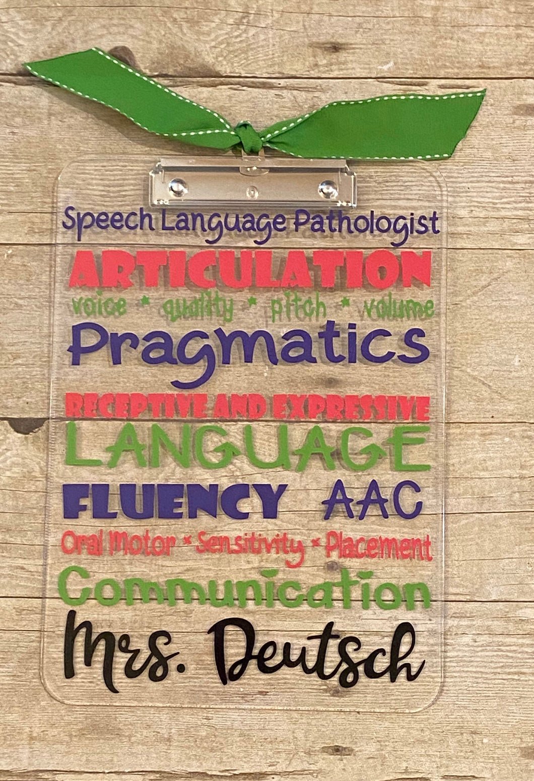 Speech Lanungage Path Appreciation Clip Board - Thank You - Christmas - End of Year - School - Gift speech language SLP clipboard