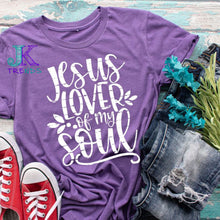 Load image into Gallery viewer, Jesus Lover of My Soul Adult Crew neck Tshirt Easter Prayer Easter Sunday Church