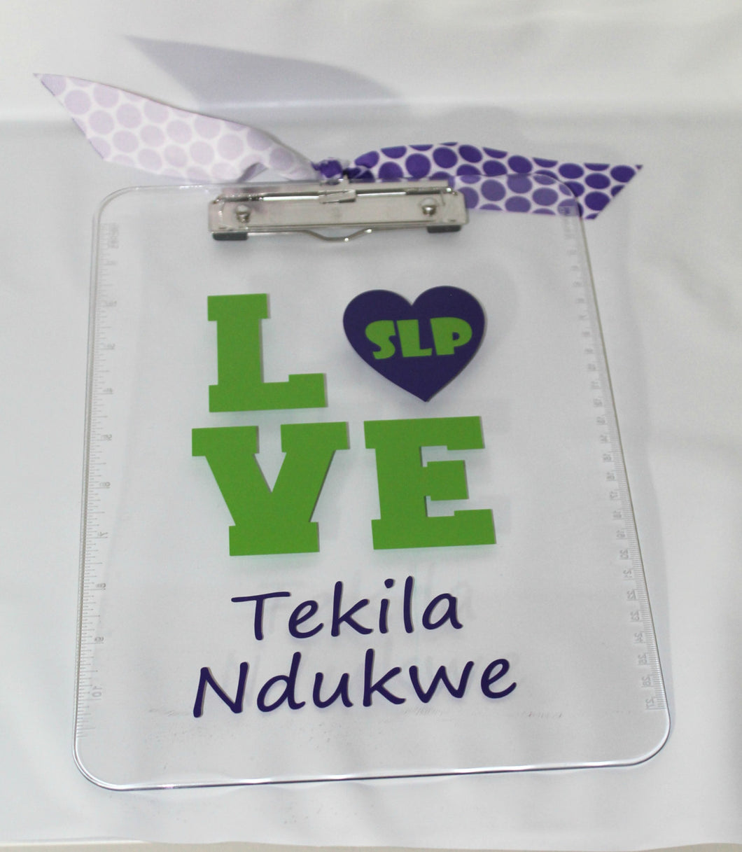 Personalized LOVE  Speech Language Pathologist Appreciation ClipBoard - Name- Thank You - Christmas - End of Year - School - Gift slp