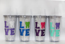 Load image into Gallery viewer, Personalized Dentist or Dental Hygienist Tumbler - Travel - Work - On-the-go - Gift - Appreciation - Thank You - Student - Tooth - L.O.V.E
