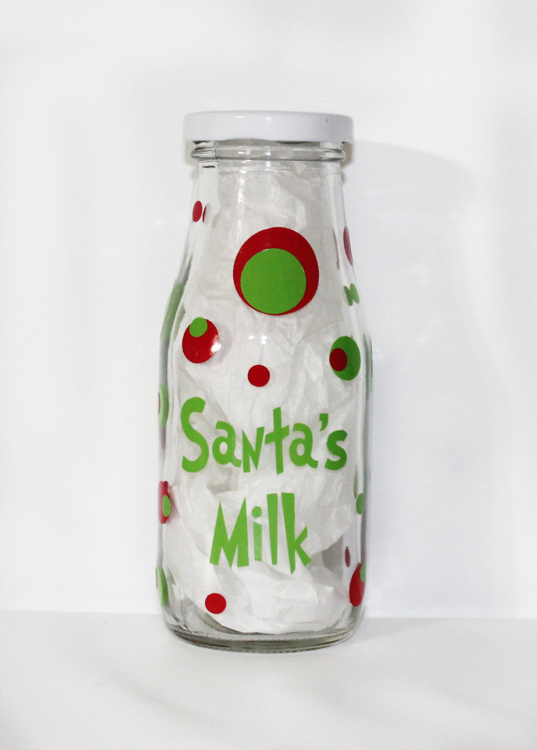 Personalized Milk Jug - Glass - Home Decor - Gift - Holiday - Santa - Reindeer - Carrots - Drink - Children - Kids - Made to Match