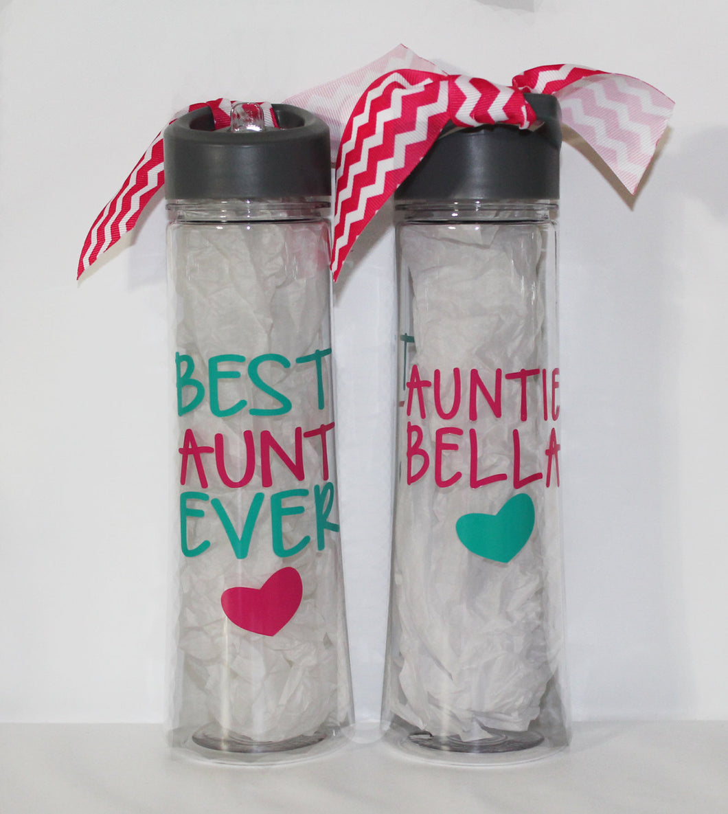 Personalized Best Aunt Ever Water Bottle - Birthday - Gift Idea - From Niece or Nephew - Sports - Travel - Drink - On-the-Go - Lunch