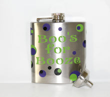 "Load image into Gallery viewer, Custom ""Boo's for Booze"" Stainless Steel Flask with Funnel - Halloween - Birthday - Party - Celebration - Gift - Ghost - Themed - Men"