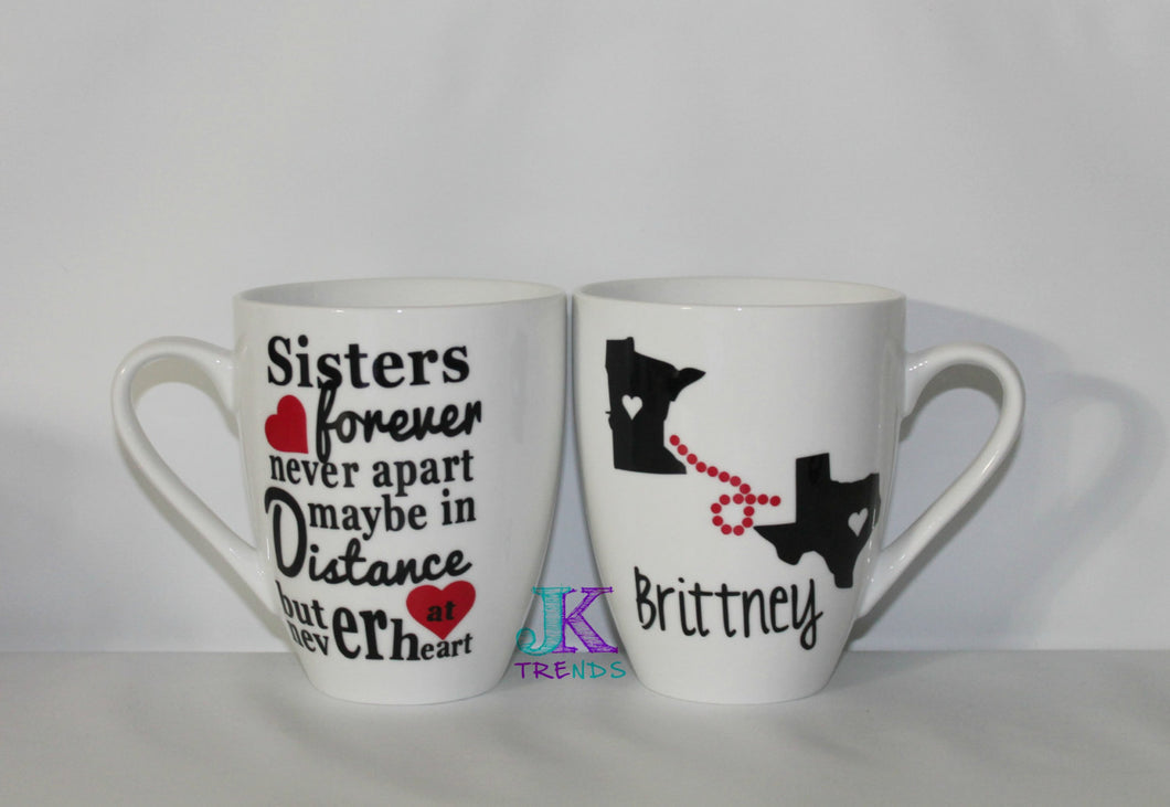 Never Apart Sisters Personalized Mug - Gift - Birthday -
