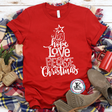 Load image into Gallery viewer, Joy Hope Love Tree Subway Christmas Holiday Season Bella Canvas Adult Shirt