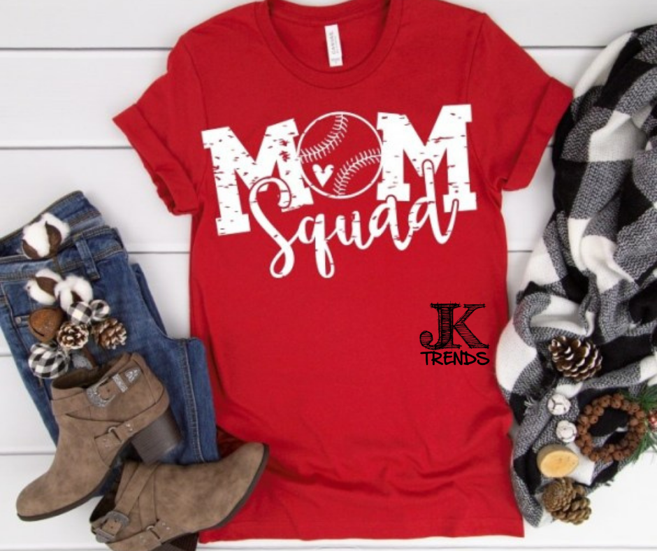 Baseball Mom Squad Baseball Bella Canvas Crew Neck