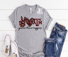 Load image into Gallery viewer, Peace Love A&M Aggies Bella Canvas Crew Neck