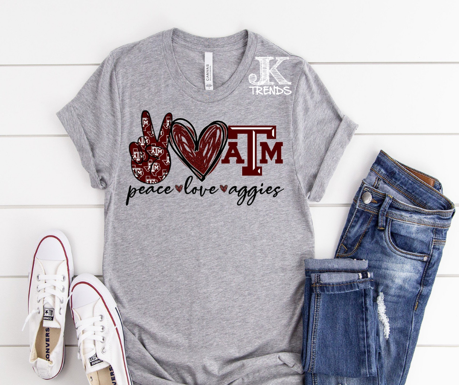 Peace Love A&M Aggies Bella Canvas Crew Neck