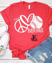 Load image into Gallery viewer, Peace Love Baseball Bella Canvas Crew Neck