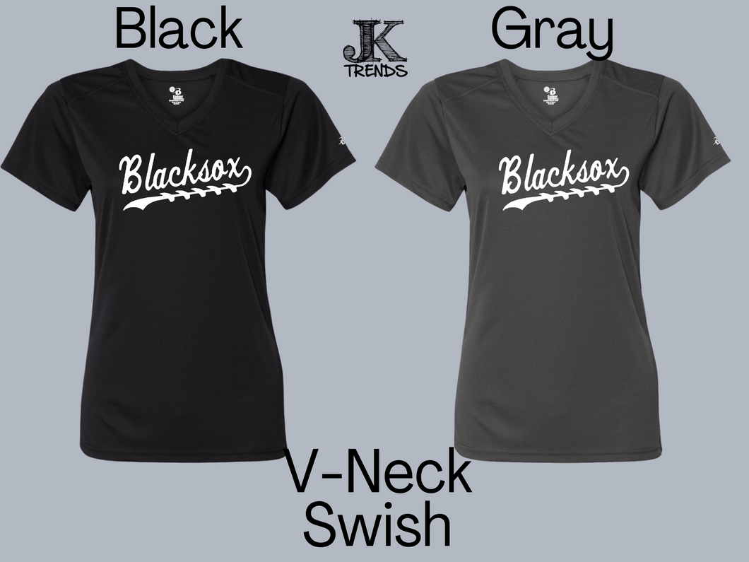 Blacksox Swish with Laces Ladies V-Neck Shirt