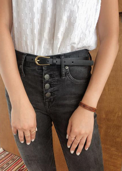 Basic Skinny Belt -Black