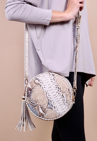 Richmond Round Crossbody- Snake Steel
