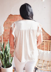 Ruffle Embroidered Top -Oatmeal