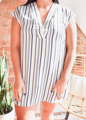 Mari Tunic -Navy Stripe