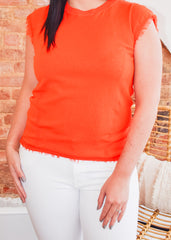 Fringe Knit Top -Orange