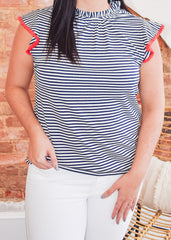 Flutter Sleeve Stripe Top