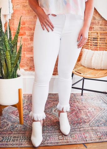 Fringe Hem Crop Skinny -Optic White