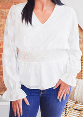Embroidered Detail Top -Ivory