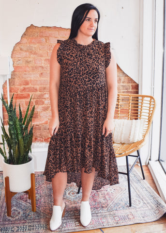 Leopard Chiffon Tier Dress