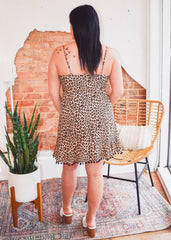 Pom Detail Leopard Dress