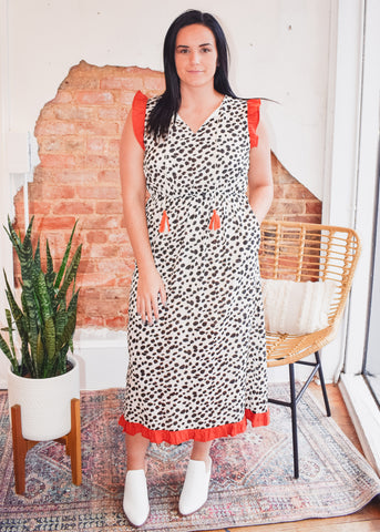 Dotted Print Midi Dress