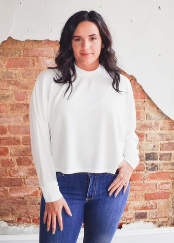 Dolman Sleeve Oversized Top -White