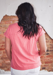 Cotton Slub Easy V Neck Tee -Slate Rose